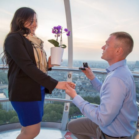purple orchid proposal on the London eye
